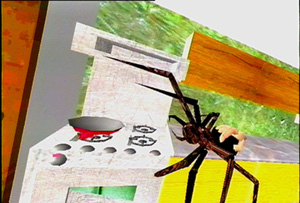 Virtual tarantula in SpiderWorld